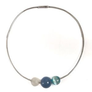 Jewelry - Silver Three Bead Necklace Orbs Blue Clear